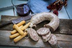 Spanish tapa of sausage Stock Photos