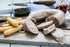 Spanish tapa of sausage Royalty Free Stock Photo
