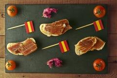 Spanish tapa on a slate plate Stock Image