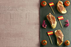 Spanish tapa on a slate plate Royalty Free Stock Photography