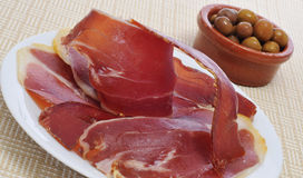 Spanish tapas. Some spanish tapas, as serrano ham and olives Stock Photo