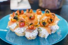 Spanish tapas, Basque cuisine, pintxos Bilbao, Spain. Royalty Free Stock Photos