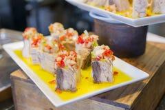 Spanish tapas, Basque cuisine, pintxos Bilbao, Spain. Stock Photography