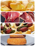 Spanish tapas collage. A collage of different spanish tapas, such as patatas bravas, pinchos de chorizo, jamon serrano or croquettes Royalty Free Stock Photography