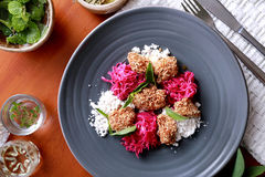 Spanish tapas crispy fried chicken served with closeslaw and ses Stock Photography