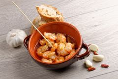 Spanish tapas dish, sizzling prawns Stock Images