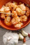 Spanish tapas dish, sizzling prawns Royalty Free Stock Photography