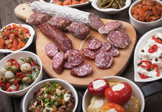 Spanish tapas food. Tapas or antipasto food, mediterranean cold buffet great for parties Stock Photos