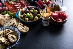 Spanish tapas , food border background Royalty Free Stock Images