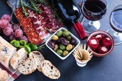 Spanish tapas , food border background. Overhead view Stock Photo