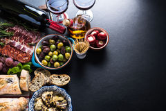 Spanish tapas , food border background. Overhead view Stock Photo
