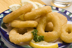 Spanish tapas. Fried squid rings. Typical appetizer. Selective focus. Closeup Royalty Free Stock Photos