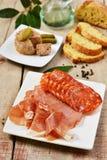 Spanish tapas with ham and pâté Stock Photo