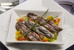 Spanish tapas. Marinated anchovies. Anchoas. Stock Photo