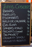 Spanish Tapas Menu. Tapas Menu Sign at a Resturant in Spain Royalty Free Stock Photography