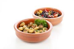 Spanish Tapas, Mushrooms and Olives Royalty Free Stock Photos