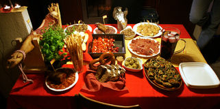 Spanish tapas party. Typical spanish tapas on party table Royalty Free Stock Image