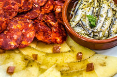 Spanish Tapas Platter. A delicious platter of Spanish Tapas stock photo