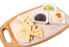 Spanish tapas platter with various pates. Royalty Free Stock Photo