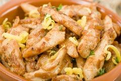 Spanish Tapas. Pollo al limon con ajo (Chicken with lemon and garlic Stock Photos