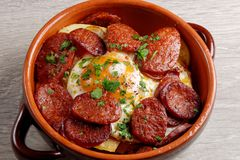 Spanish tapas with potatoes and Chorizo Royalty Free Stock Photos
