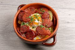 Spanish tapas with potatoes and Chorizo Royalty Free Stock Images