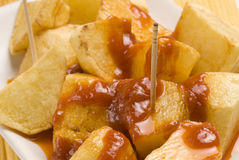 Spanish tapas. Potatoes in hot sauce. Stock Images