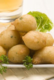 Spanish tapas. Salt cod fritters. Typical appetizer. Closeup Royalty Free Stock Photos