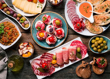 Spanish tapas and sangria. On wooden table, top view stock photo