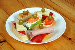 Spanish tapas selection, Spain. Royalty Free Stock Image