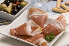 Spanish tapas. Serrano ham. Stock Images