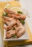 Spanish tapas. Shrimps in salt. Gambas saladas. White plate. Typical appetizer Stock Photography