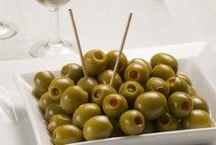 Spanish tapas. Stuffed olives. Royalty Free Stock Images
