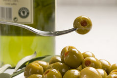 Spanish tapas. Stuffed olives. Royalty Free Stock Image