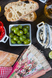 Spanish tapas on table from above Royalty Free Stock Photo