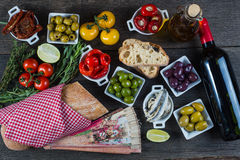 Spanish tapas on table from above Royalty Free Stock Photography
