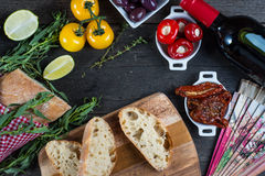 Spanish tapas on table from above Royalty Free Stock Photos