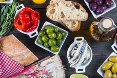 Spanish tapas on table from above Royalty Free Stock Images