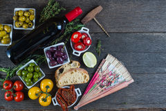 Spanish tapas on table from above Stock Images