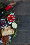 Spanish tapas on table from above Stock Photography