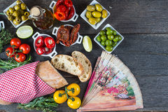 Spanish tapas on table from above Royalty Free Stock Image