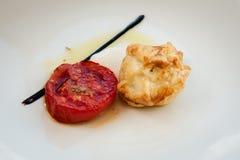 Spanish Tapas with  tomatoes . Stock Photos
