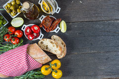 Spanish tapas on wooden rustic table from above Royalty Free Stock Photo