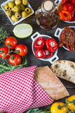Spanish tapas on wooden rustic table from above Royalty Free Stock Image