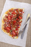 Spanish tarte flambee with chorizo Royalty Free Stock Photos