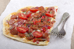 Spanish tarte flambee with chorizo Royalty Free Stock Image
