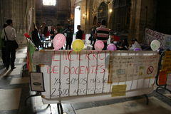 Spanish teachers strike in Seville Cathedral Stock Images