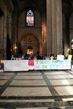 Spanish teachers strike in Seville Cathedral Stock Image
