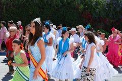 Spanish teenagers in flamenco dresses. Stock Photo