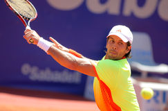 Spanish tennis player Fernando Verdasco. In action during his match against Steve Darcis of Barcelona tennis tournament Conde de Godo on April 24, 2012 in Royalty Free Stock Image